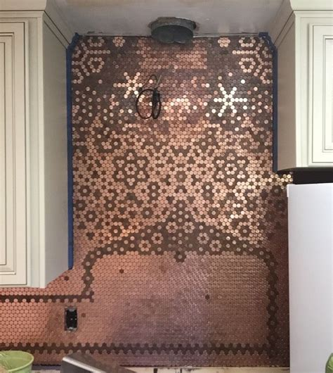 penny tile kitchen backsplash penny backsplash carolyn 2 kitchen pinterest penny
