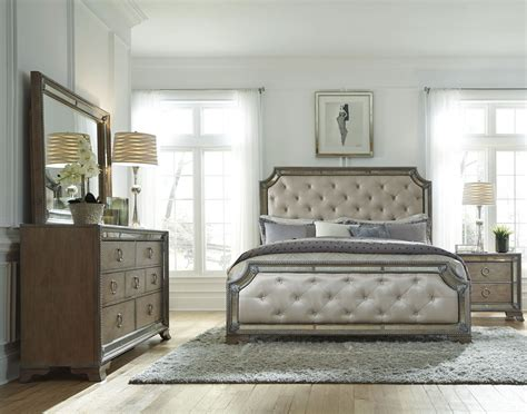 karissa light wood upholstered panel bedroom set from