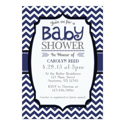 Navy Baby Shower by Navy Blue White Chevron Baby Shower Invitation Zazzle