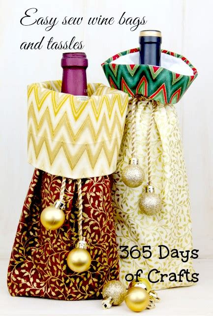 Sew Can Do Craft A Day 365 Simple Handmade Crafts Book - easy sew wine bag using quarters in prints