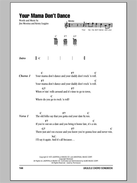 strumming pattern shut up and dance tablature guitare your mama don t dance de loggins and