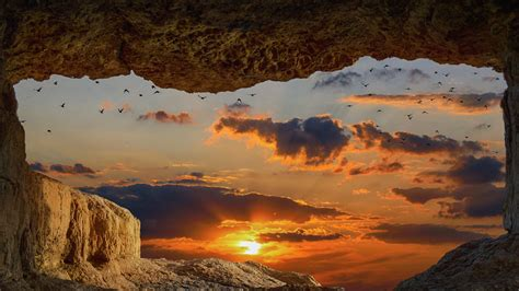 cave rock sunset   hd  wallpapers images