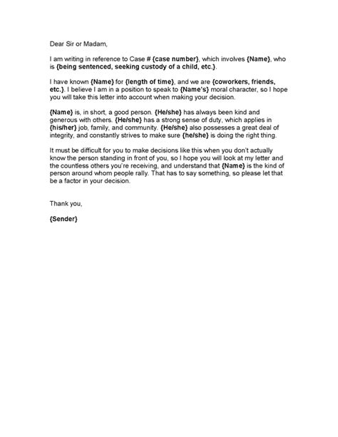 Character Reference Letter Template For Waiver Reference Letter On Character Reference Judges And Templates