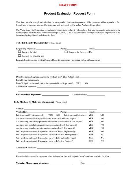 Product Request Form Template best photos of hospital product evaluation form product evaluation form product