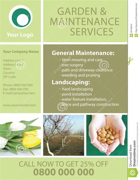 flyer templates gardening garden and maintenance flyer template stock illustration