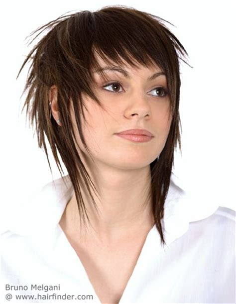 medium hair in back in front medium long hairstyle with spiky strands of hair and
