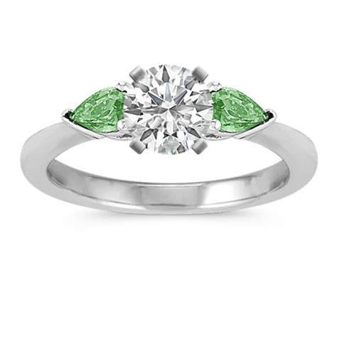 green sapphire 3 538ct three pear shaped green sapphire engagement ring