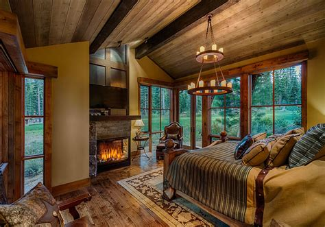bedroom with fireplace stunning cabin retreat brings rustic texan charm to lake tahoe