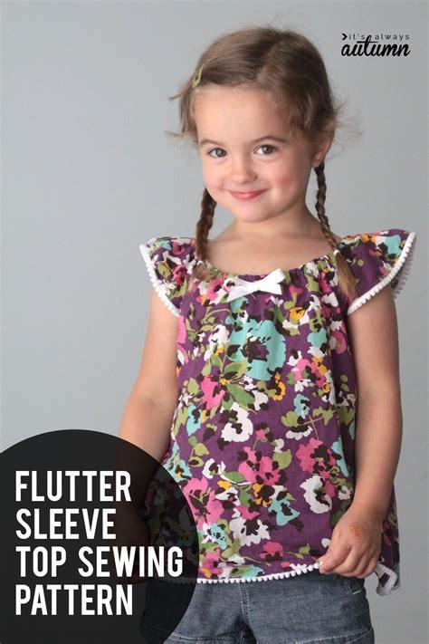 free pattern for girls flutter sleeve romper sewing girl s flutter sleeve dress or top sewing tutorial free