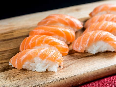 Salmon Sushi salmon sushi is the hair color of the summer food wine