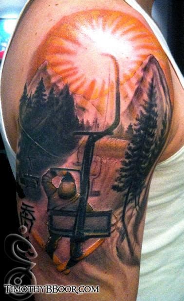 skiing tattoos ski lift by timothy b boor tattoonow