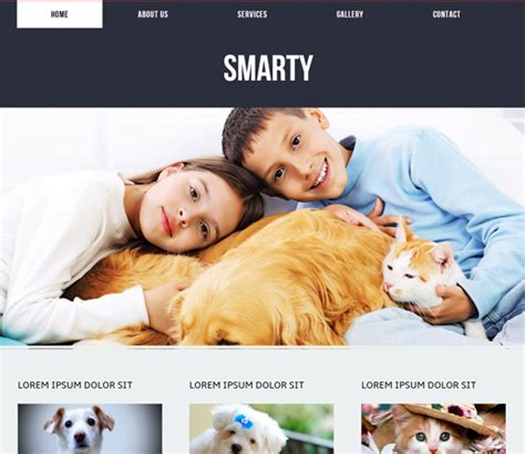 Smarty A Animals And Pets Mobile Website Template By W3layouts Smarty Web Template
