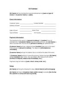 How To Make A Dj Contract by Dj Contract Free Printable Documents