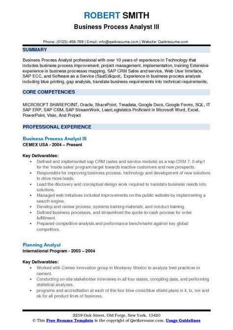 business process analyst resume sle business process analyst resume sles qwikresume