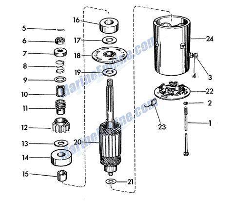 starter motor parts diagram evinrude starter motor parts for 1957 35hp 25532 outboard