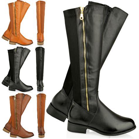 womens flat knee high calf boots gusset gold