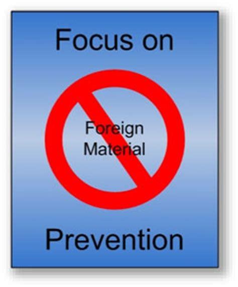 foreign matter free foreign material prevention program programs