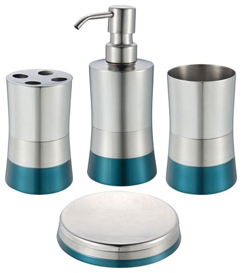 shiny matte 4 bathroom set blue contemporary
