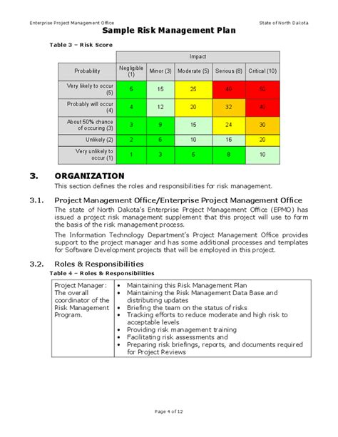 risk management template risks and risk management plan enterprise risk management