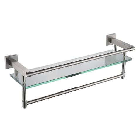 Glass Bathroom Shelves With Towel Bar Kes A2225 2 Sus304 Stainless Steel Bathroom Glass Shelf Wall Mount With Towel Bar And Rail