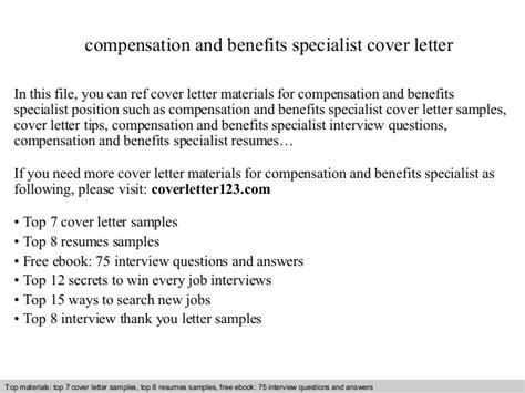 Compensation Specialist Cover Letter by Compensation And Benefits Specialist Cover Letter