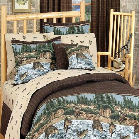 fishing comforter set river fishing bedding collection cabin place