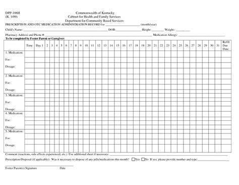 medication administration record template pdf template