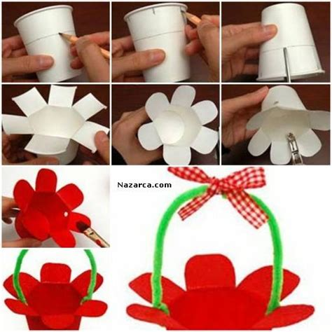 How To Make Paper Craft At Home - ka苙it bardak ve 蝙 214 n莢lle 199 ocuklar 莢 199 莢n sepet 199 anta yapili蝙i