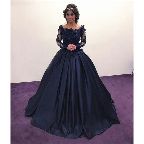 navy blue ball gown prom dress princess embellished long sleeves navy blue prom dresses