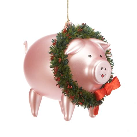 pig with wreath christmas ornament gump s