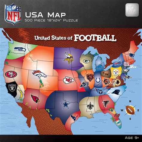 map usa football teams nfl usa map jigsaw puzzle puzzlewarehouse