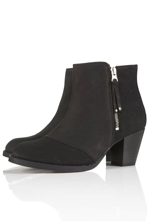 Topshop Vs Ysl The Lou Lou Braided Wedge And The Cheaper Alternative by Topshop Mighty Black Leather Zip Boots In Black Lyst
