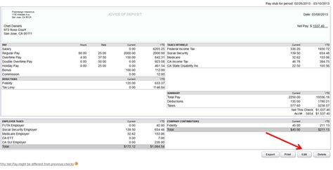 The Gallery For Gt Quickbooks Paycheck Stub Quickbooks Check Stub Template