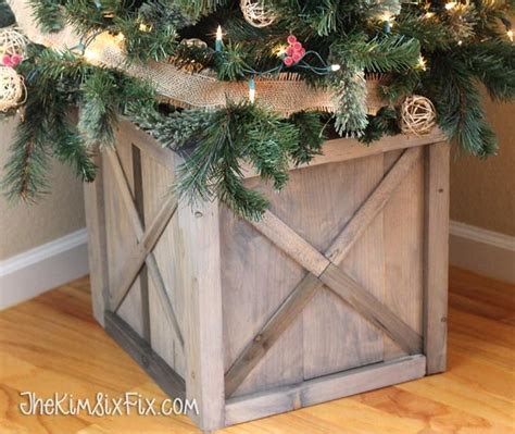 how to make your own christmas tree stand white diy scrap wood crate tree stand featuring the six fix diy projects