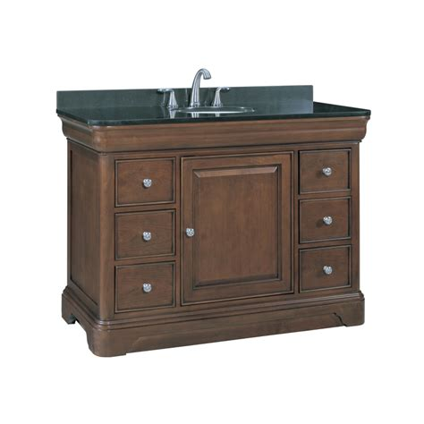 Lowes Bathroom Vanities With Tops Shop Allen Roth Fenella Rich Cherry Undermount Single Sink Bathroom Vanity With Granite Top