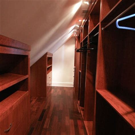 Slanted Ceiling Closet Design by Sloped Ceiling Narrow Walk In Closet Cape Cod Cozy