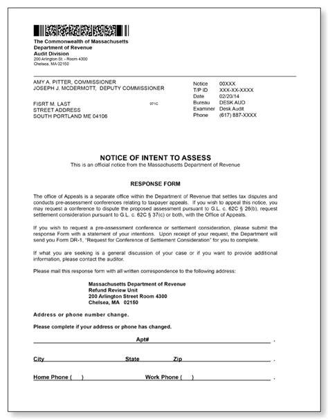 Food St Verification Letter Massachusetts Massachusetts Department Of Revenue Notice Of Intent To Assess