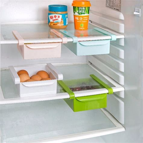 plastic pull out drawer organizer multifuction plastic kitchen refrigerator storage rack