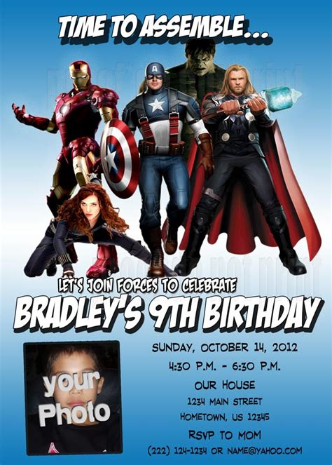 printable birthday card avengers personalized photo invitations cmartistry avengers