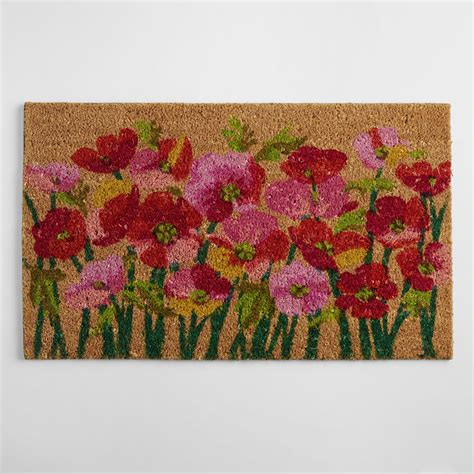 Pink Doormat pink poppies doormat world market