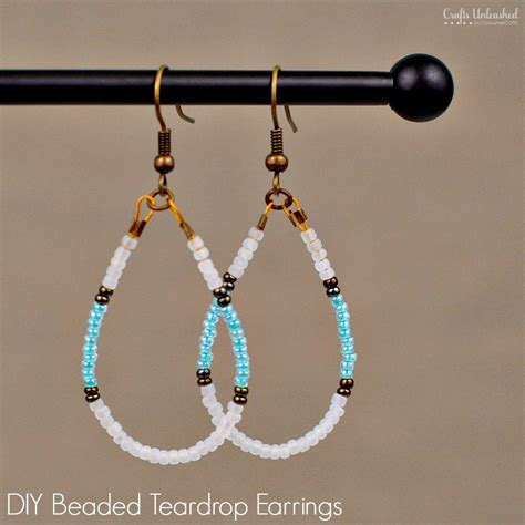 how to make bead earrings at home diy beaded earrings teardrop tutorial crafts unleashed
