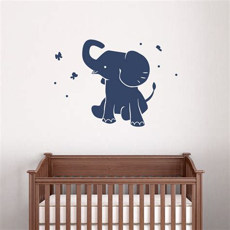 Wall Decals Baby Nursery Baby Elephant Wall Decal Vinyl Decal Sticker Elephant Wall