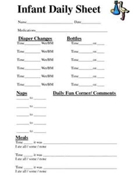 Infant Daily Sheet Template by 1000 Images About Daycare On Infant Daily