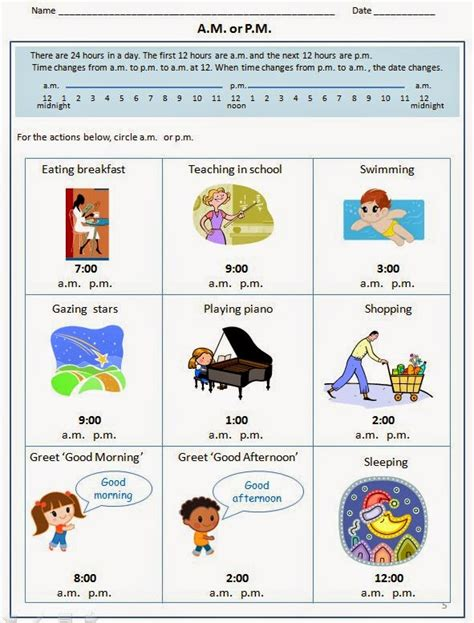 Am And Pm Worksheets by Happy Learners Teaching Time
