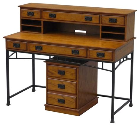 Modern Craftsman Executive Desk Hutch And Mobile File Modern Desk Hutch