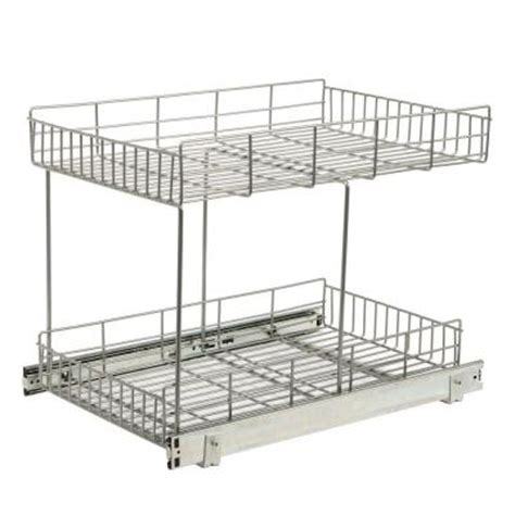 home depot pull out shelves knape vogt 22 875 in x 15 44 in x 17 562 in half shelf pull out basket cabinet organizer