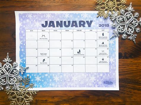 printable calendar 2018 disney disney january 2018 calendar disney family