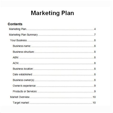 Marketing Plan Outline Template sle marketing plan template 9 free documents in word pdf