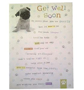 get well soon pug get well soon pug card available to buy from www ilovepugs co uk post worldwide