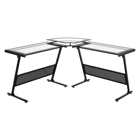 Glass Desk L Shaped Z Line Delano Glass L Shaped Desk Zl1429 1du
